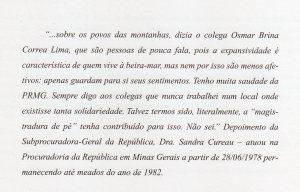 Depoimento- Sandra Cureau para Memória do MPFMG