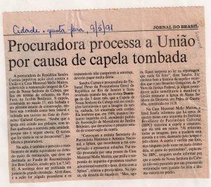 Patrimônio Cultural- Rio de Janeiro. Jornal do Brasil, 9-5-1991